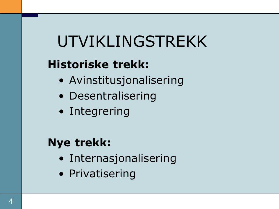 UTVIKLINGSTREKK Historiske trekk: Avinstitusjonalisering