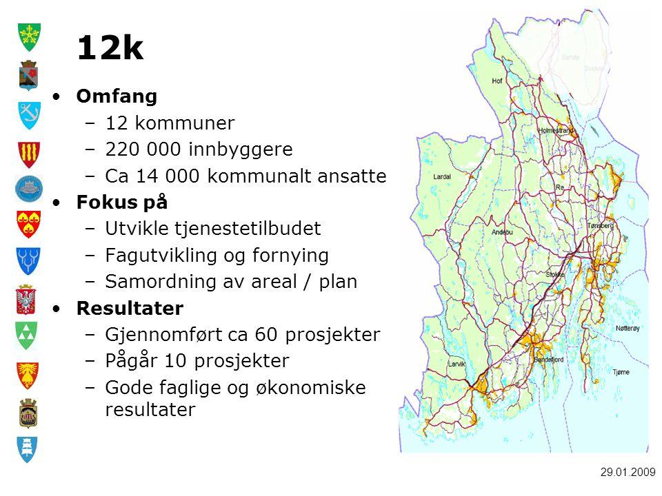 12k Omfang 12 kommuner 220 000 innbyggere Ca 14 000 kommunalt ansatte