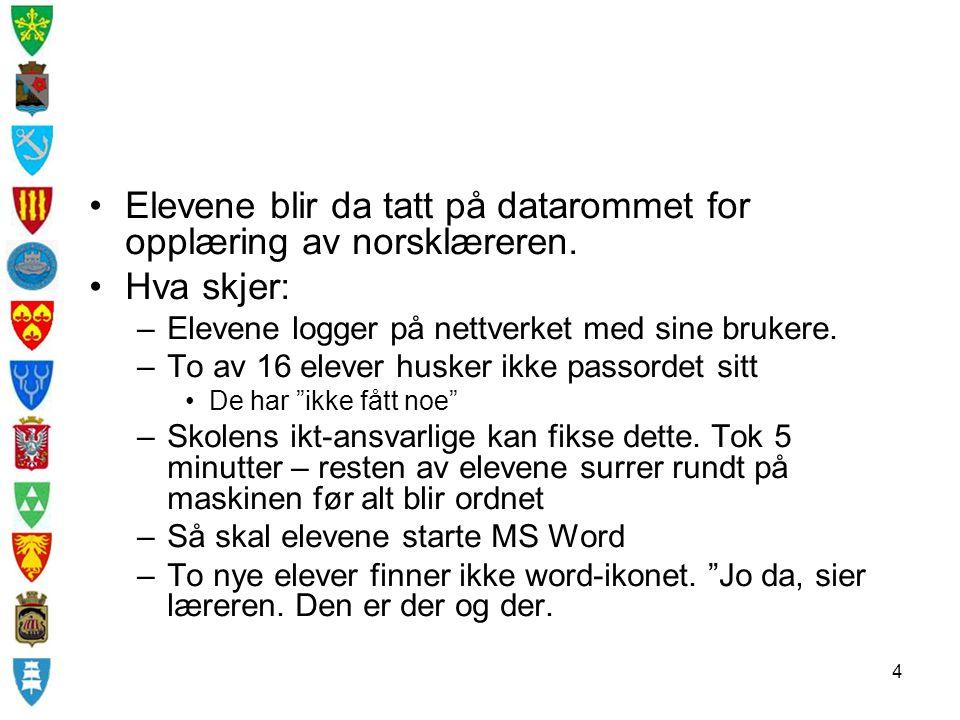 Elevene blir da tatt på datarommet for opplæring av norsklæreren.