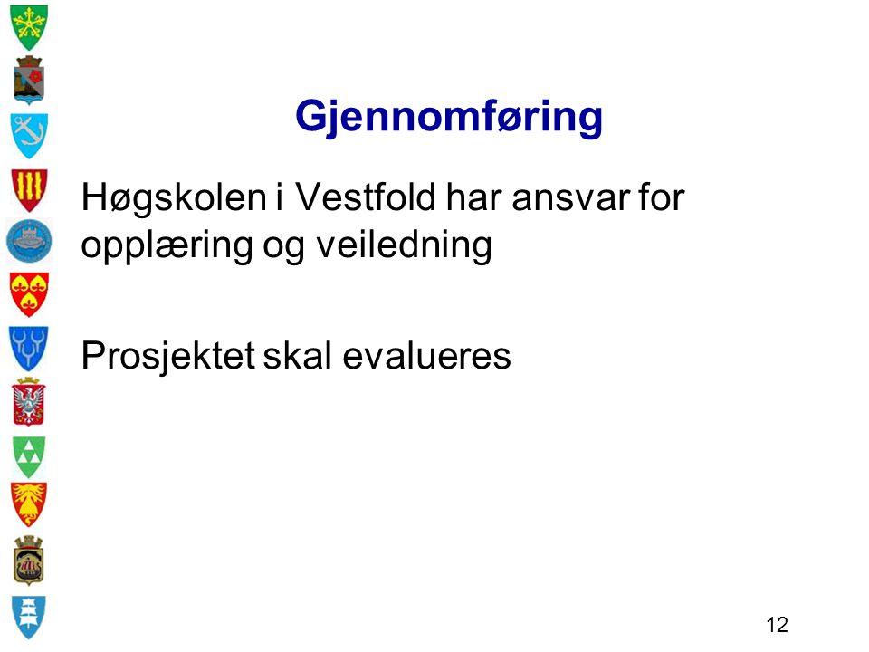 Gjennomføring Høgskolen i Vestfold har ansvar for opplæring og veiledning. Prosjektet skal evalueres.