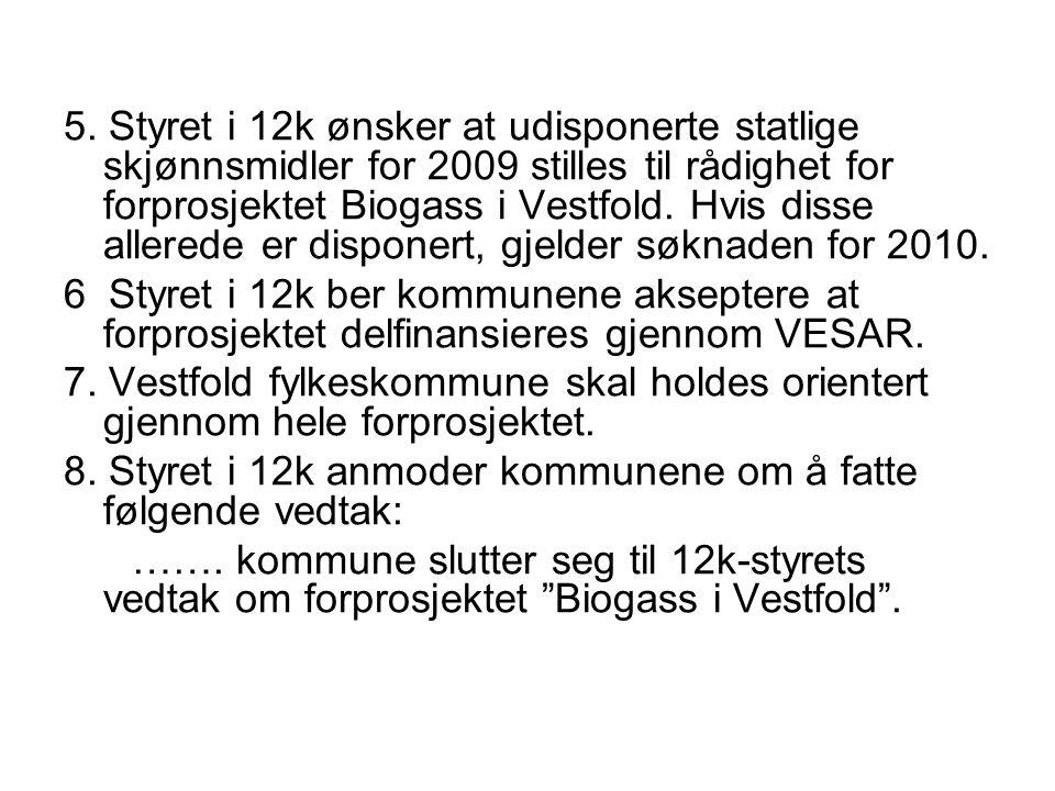 5. Styret i 12k ønsker at udisponerte statlige skjønnsmidler for 2009 stilles til rådighet for forprosjektet Biogass i Vestfold. Hvis disse allerede er disponert, gjelder søknaden for 2010.