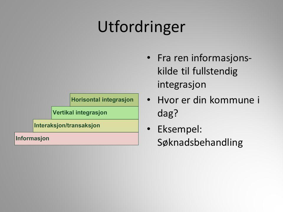 Utfordringer Fra ren informasjons-kilde til fullstendig integrasjon