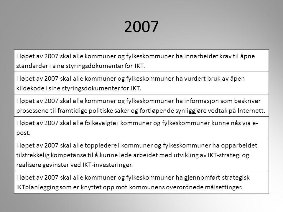 2007 I løpet av 2007 skal alle kommuner og fylkeskommuner ha innarbeidet krav til åpne standarder i sine styringsdokumenter for IKT.