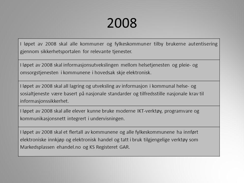 2008 I løpet av 2008 skal alle kommuner og fylkeskommuner tilby brukerne autentisering gjennom sikkerhetsportalen for relevante tjenester.