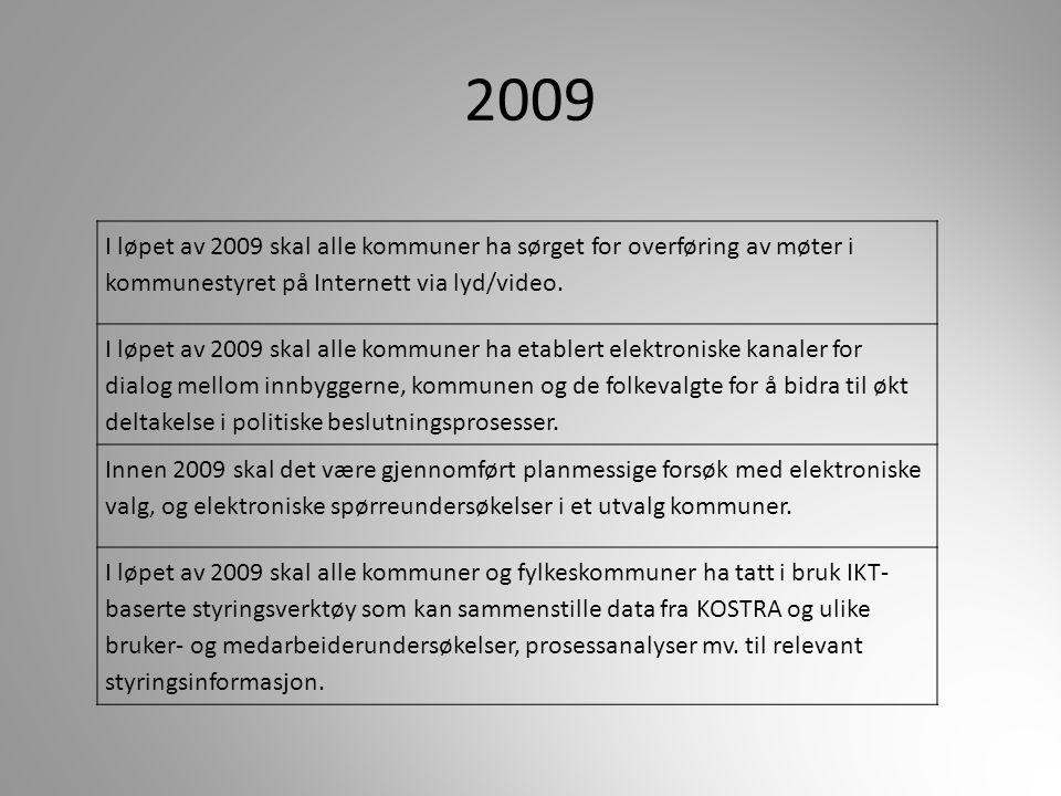 2009 I løpet av 2009 skal alle kommuner ha sørget for overføring av møter i kommunestyret på Internett via lyd/video.