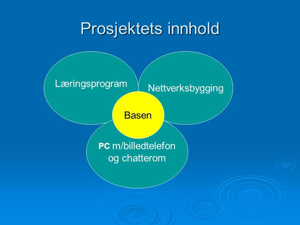 Prosjektets innhold Læringsprogram Nettverksbygging Basen og chatterom