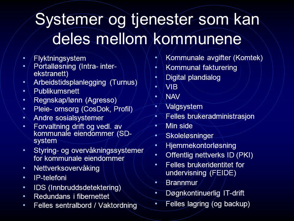 Systemer og tjenester som kan deles mellom kommunene