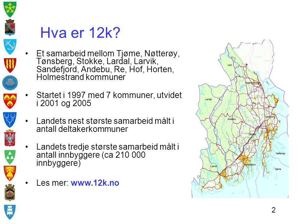 Hva er 12k Et samarbeid mellom Tjøme, Nøtterøy, Tønsberg, Stokke, Lardal, Larvik, Sandefjord, Andebu, Re, Hof, Horten, Holmestrand kommuner.