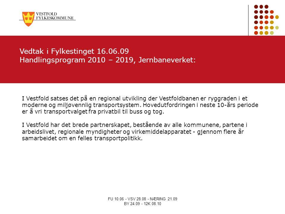 Handlingsprogram 2010 – 2019, Jernbaneverket: