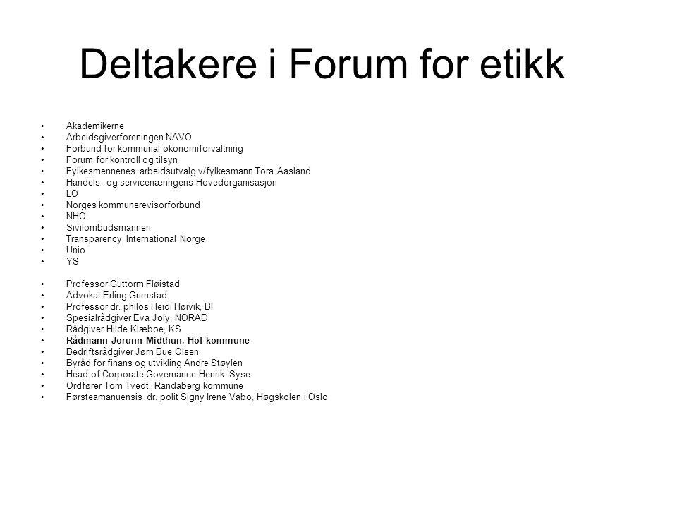 Deltakere i Forum for etikk