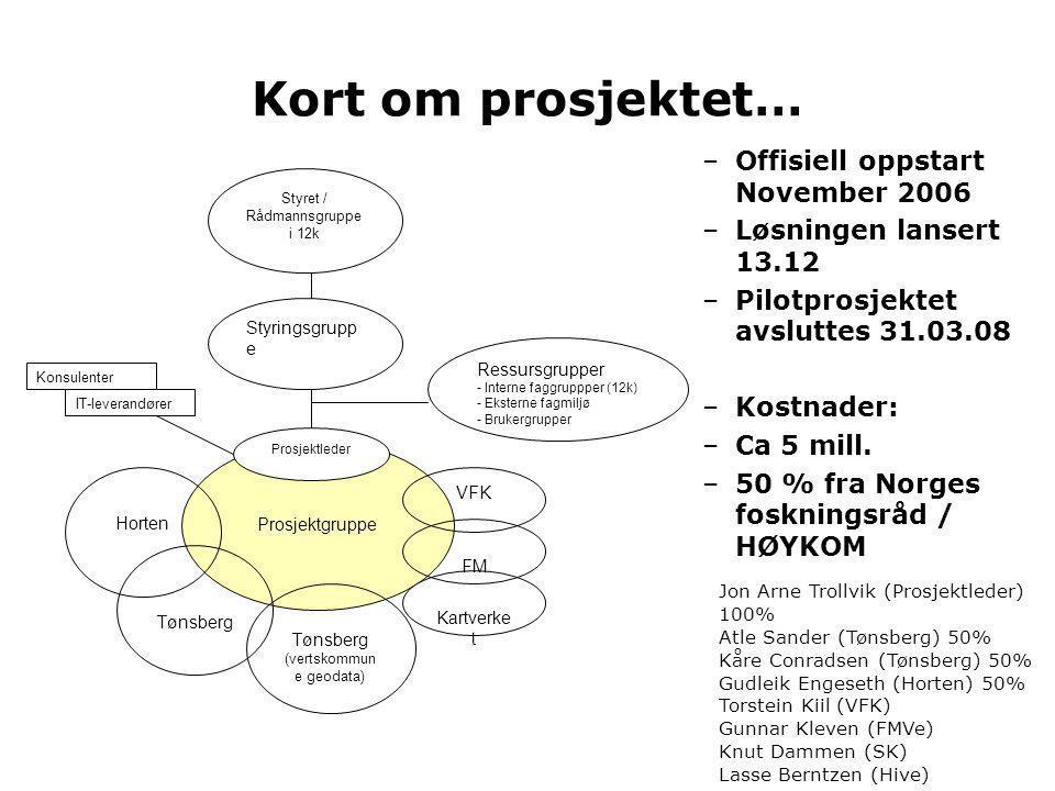 Kort om prosjektet… Offisiell oppstart November 2006