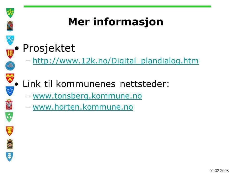 Mer informasjon Prosjektet Link til kommunenes nettsteder: