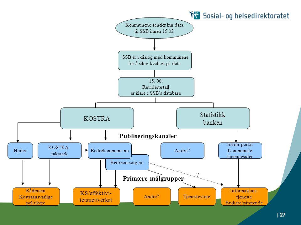 Statistikk KOSTRA banken Publiseringskanaler Primære målgrupper
