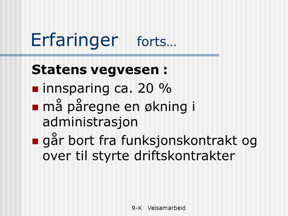 Erfaringer forts… Statens vegvesen : innsparing ca. 20 %