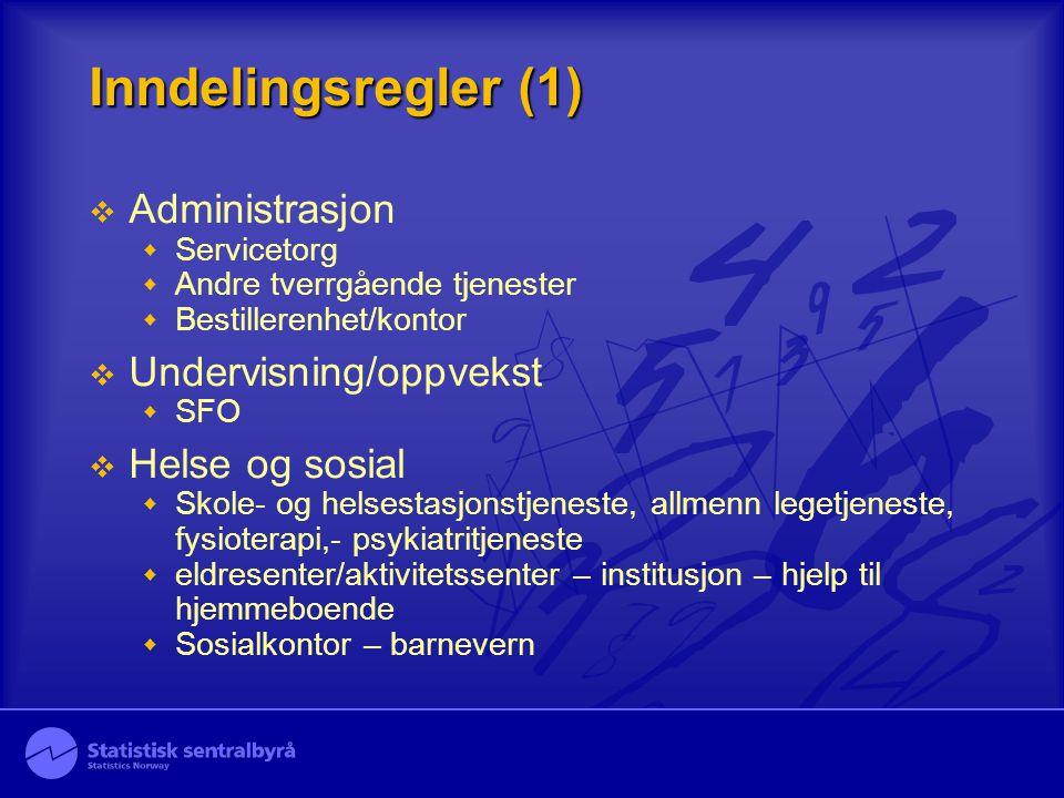 Inndelingsregler (1) Administrasjon Undervisning/oppvekst