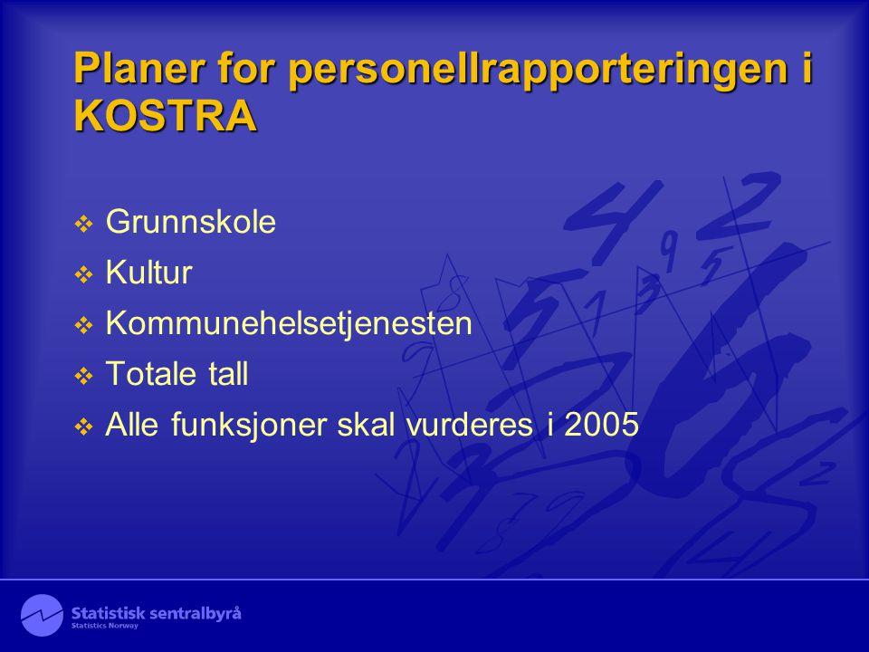 Planer for personellrapporteringen i KOSTRA