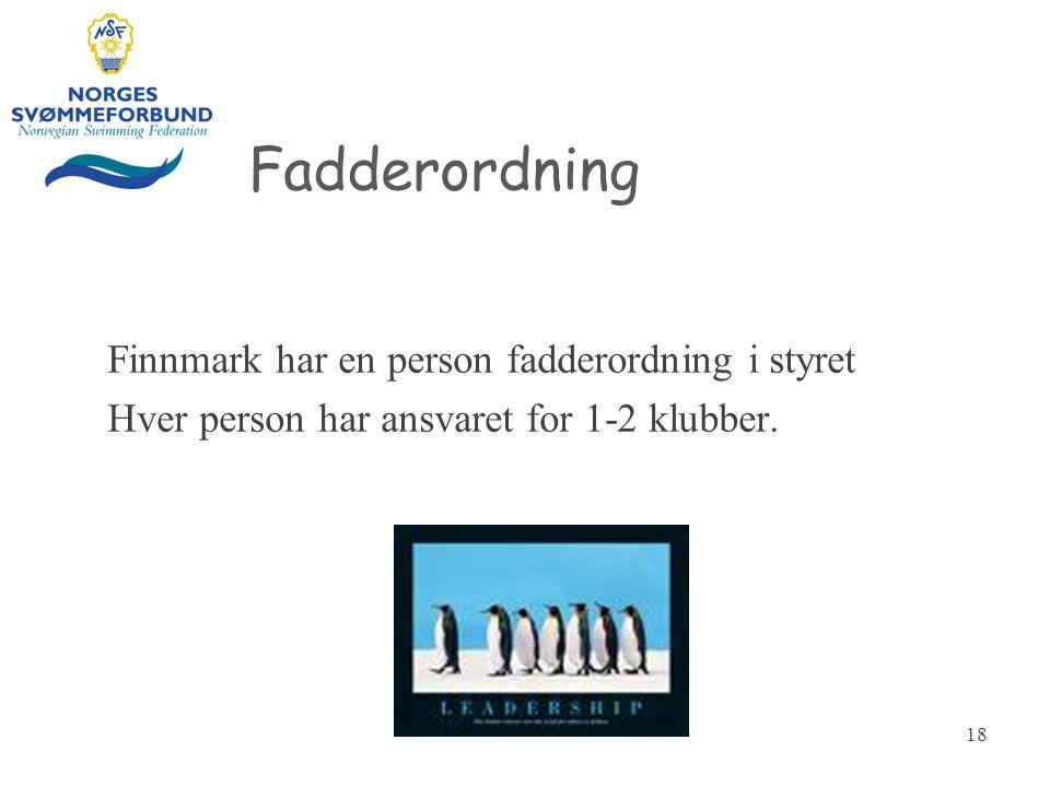 Fadderordning Finnmark har en person fadderordning i styret Hver person har ansvaret for 1-2 klubber.