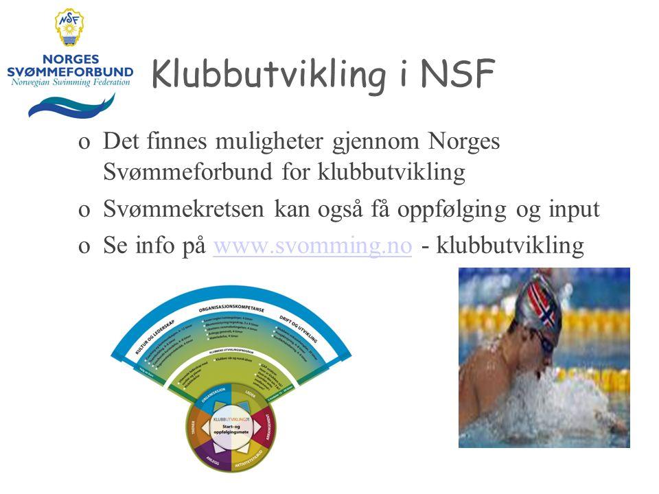 Klubbutvikling i NSF Det finnes muligheter gjennom Norges Svømmeforbund for klubbutvikling. Svømmekretsen kan også få oppfølging og input.