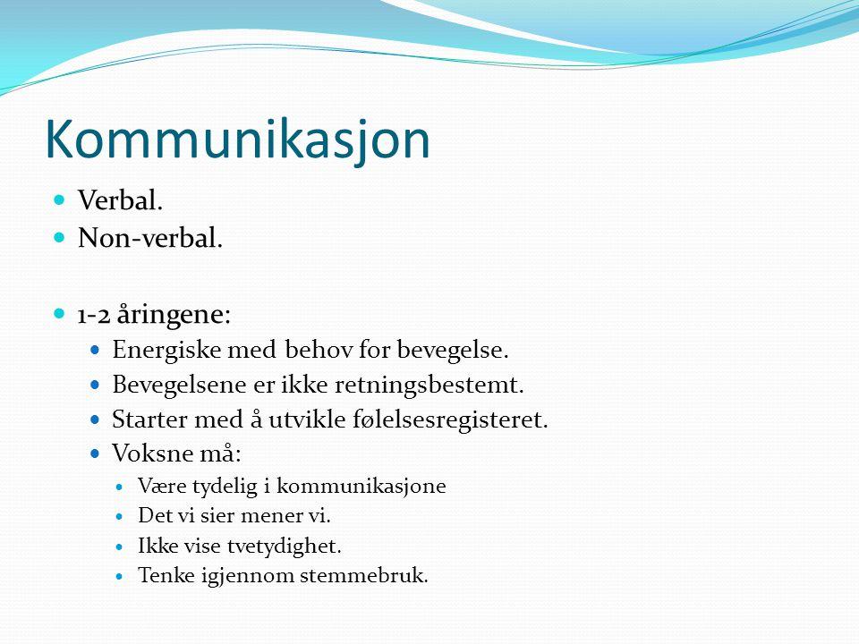 Kommunikasjon Verbal. Non-verbal. 1-2 åringene: