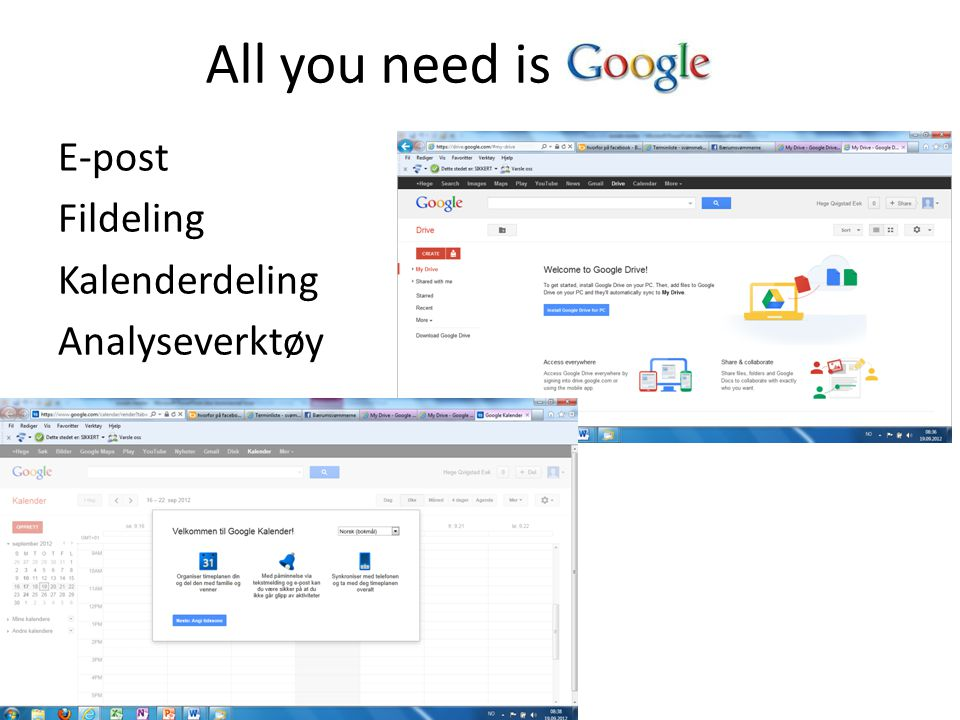 All you need is E-post Fildeling Kalenderdeling Analyseverktøy
