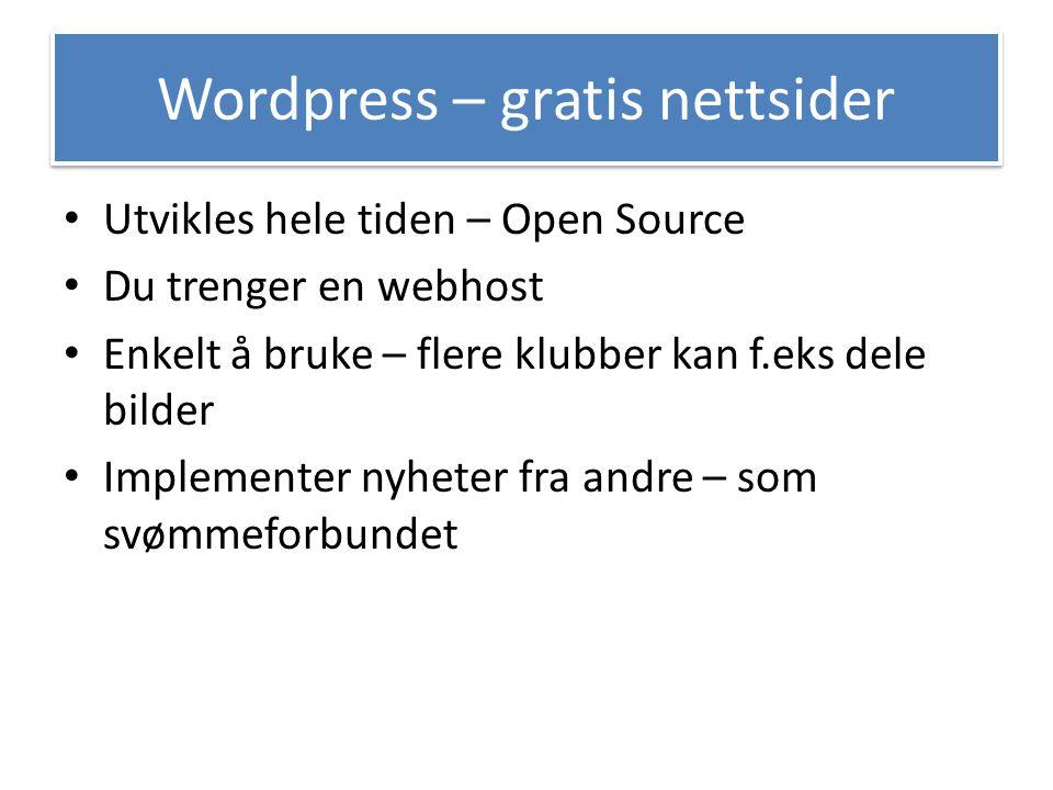 Wordpress – gratis nettsider