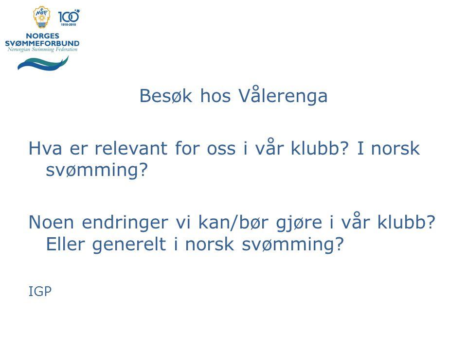 Hva er relevant for oss i vår klubb I norsk svømming
