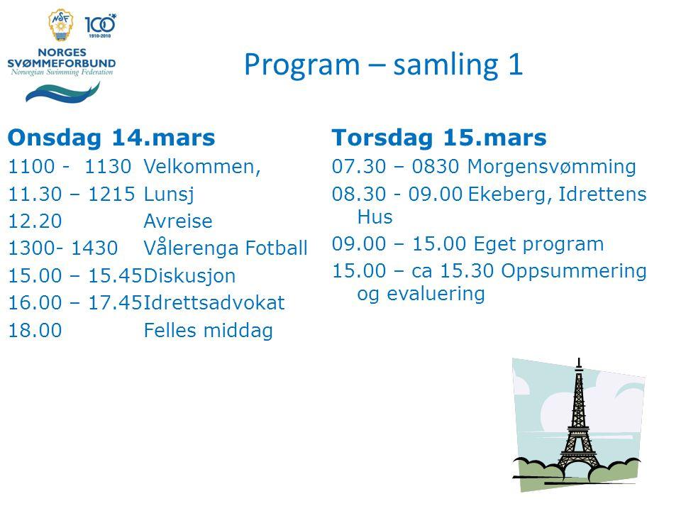 Program – samling 1 Onsdag 14.mars Torsdag 15.mars