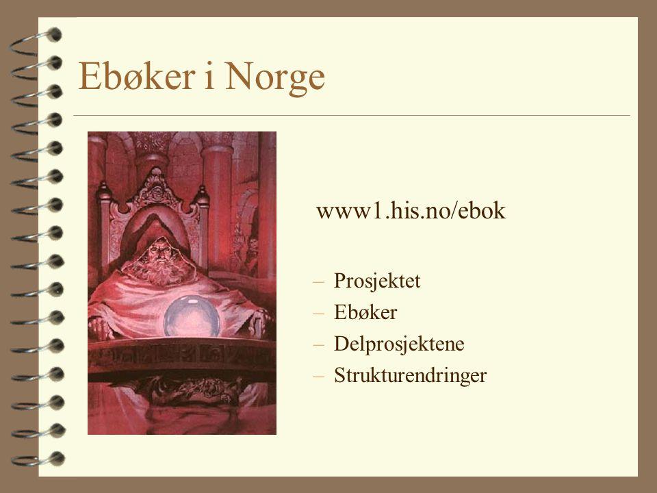 Ebøker i Norge www1.his.no/ebok Prosjektet Ebøker Delprosjektene