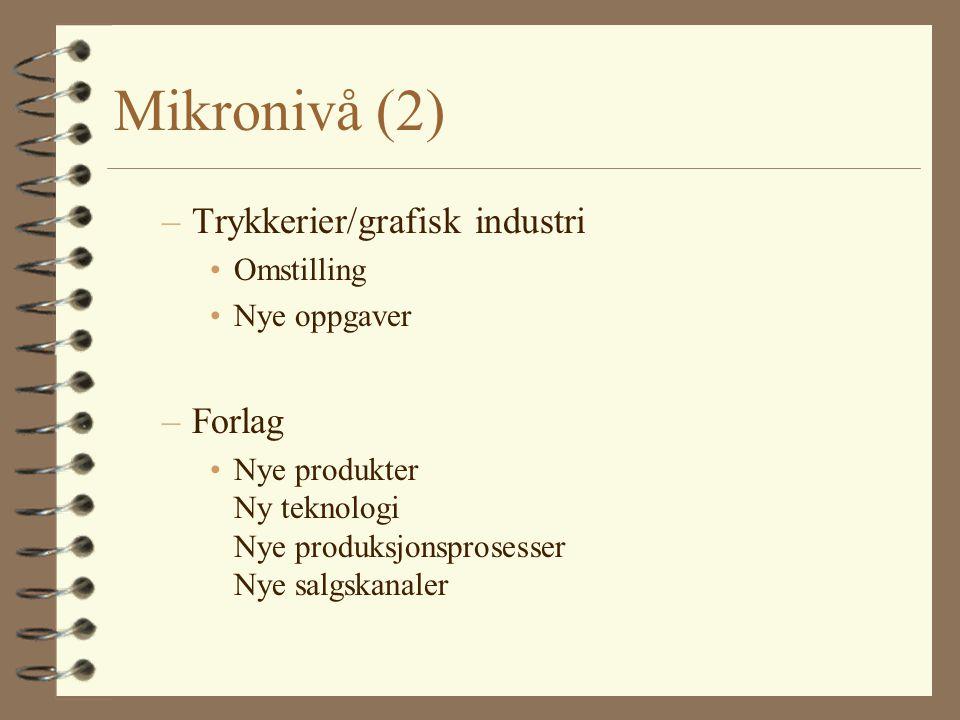 Mikronivå (2) Trykkerier/grafisk industri Forlag Omstilling