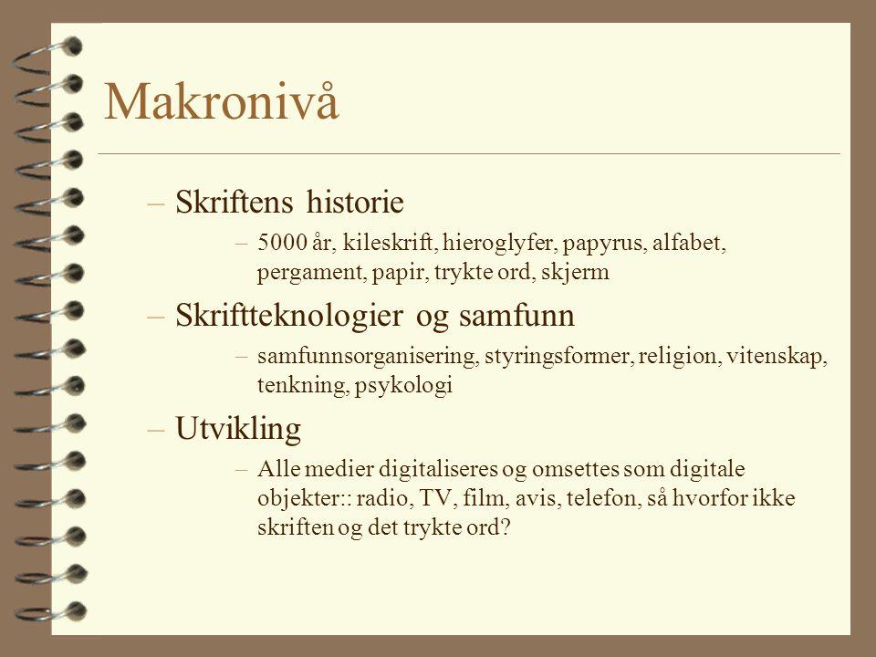 Makronivå Skriftens historie Skriftteknologier og samfunn Utvikling