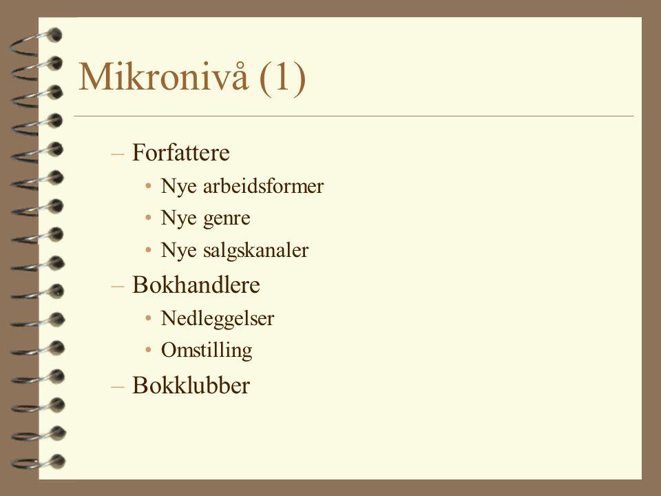 Mikronivå (1) Forfattere Bokhandlere Bokklubber Nye arbeidsformer