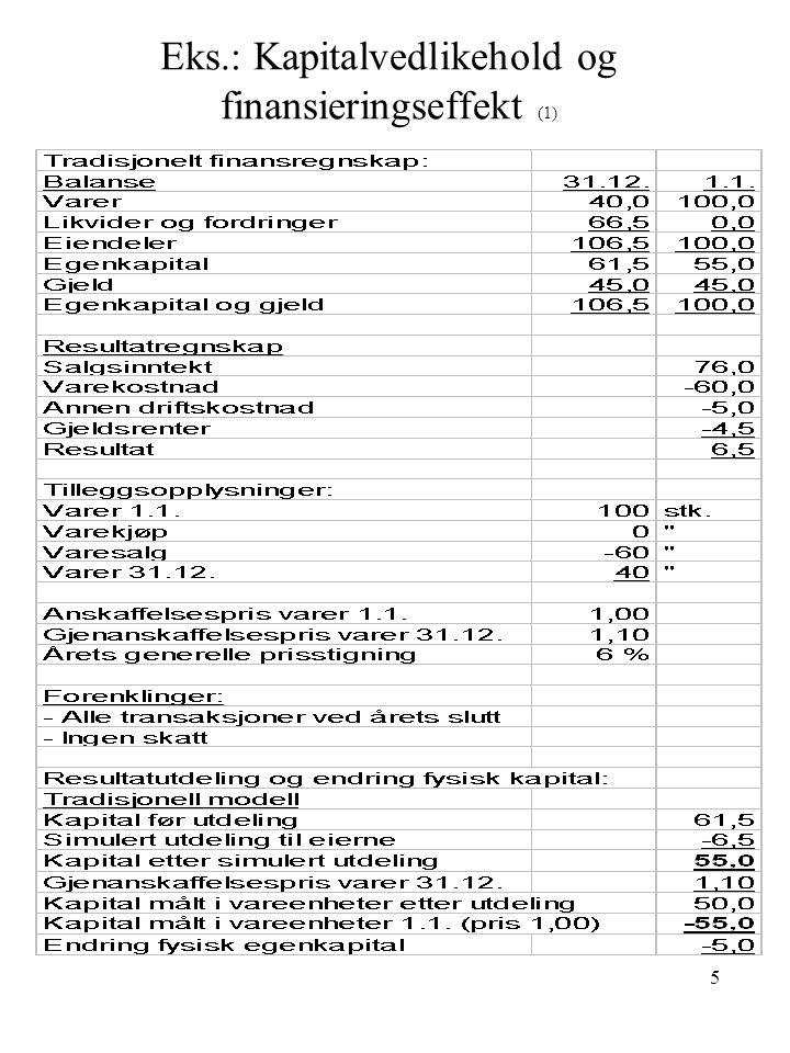 Eks.: Kapitalvedlikehold og finansieringseffekt (1)