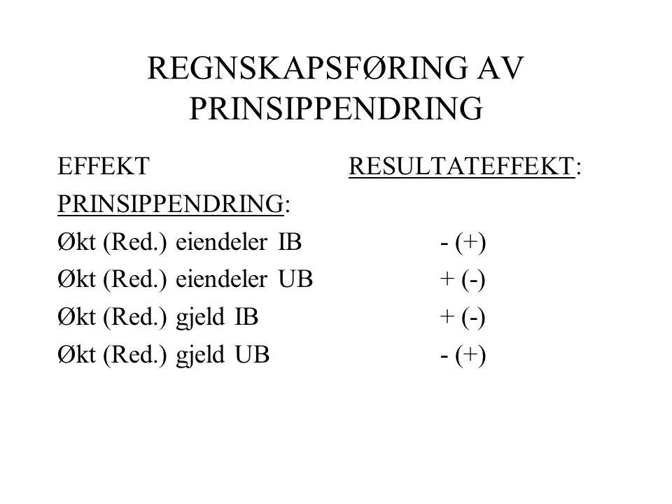 REGNSKAPSFØRING AV PRINSIPPENDRING
