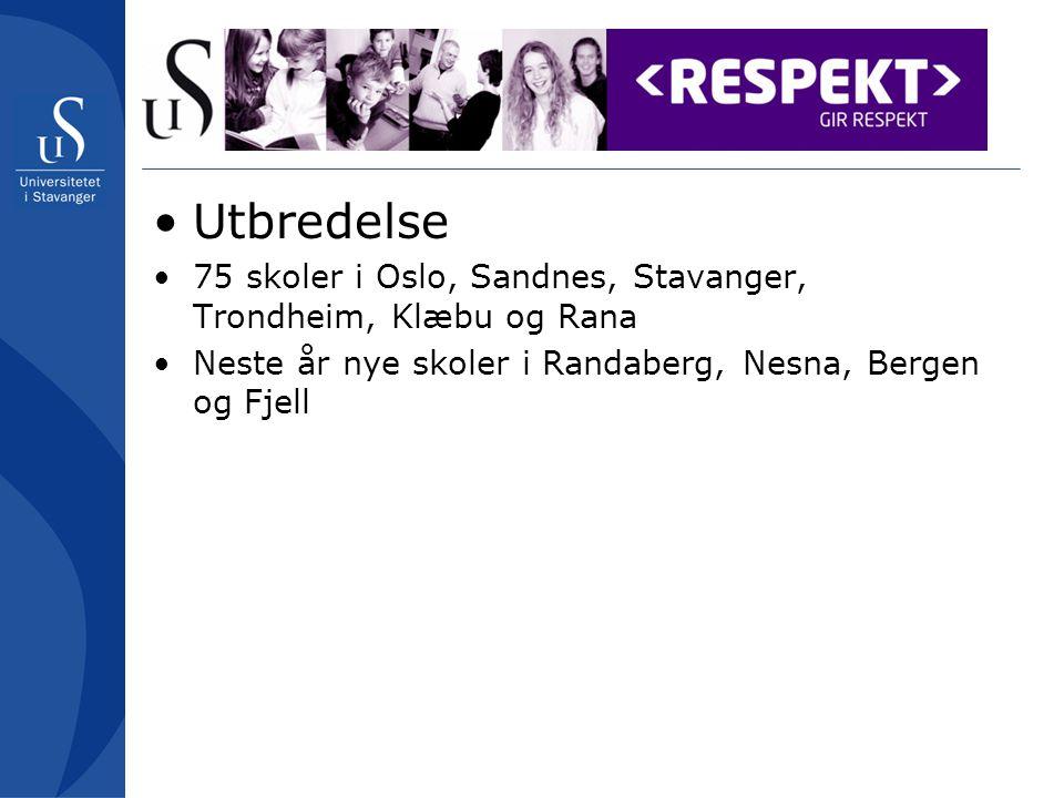 Utbredelse 75 skoler i Oslo, Sandnes, Stavanger, Trondheim, Klæbu og Rana.