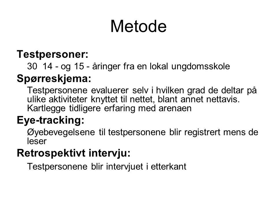 Metode Testpersoner: Spørreskjema: Eye-tracking: