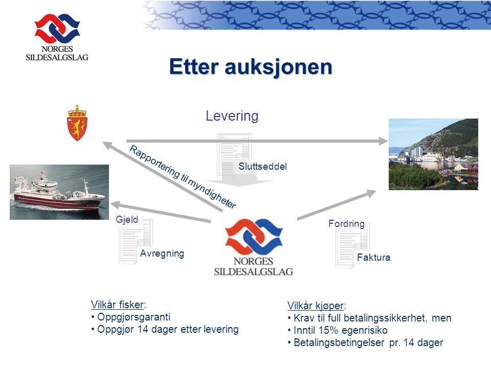 Etter auksjonen Levering Vilkår fisker: Vilkår kjøper: Oppgjørsgaranti