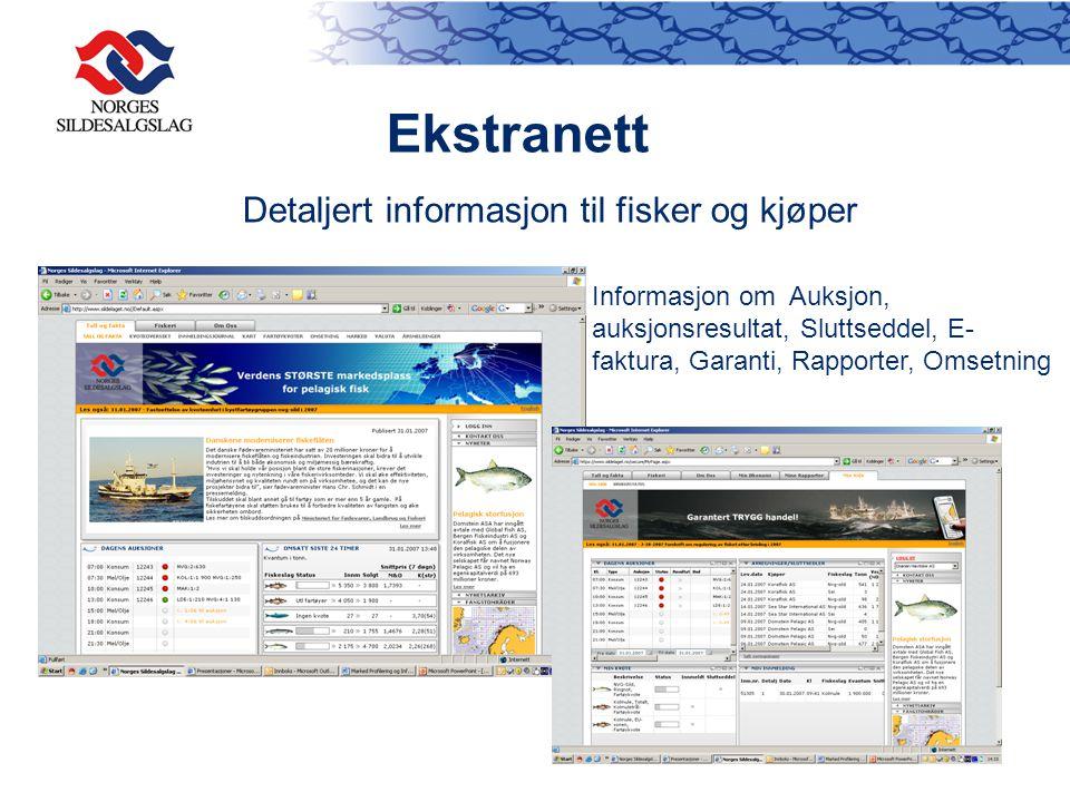 Ekstranett Detaljert informasjon til fisker og kjøper
