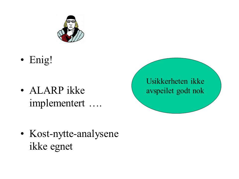 ALARP ikke implementert ….