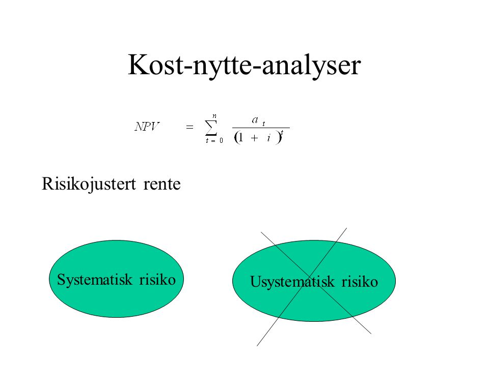 Kost-nytte-analyser Risikojustert rente Systematisk risiko