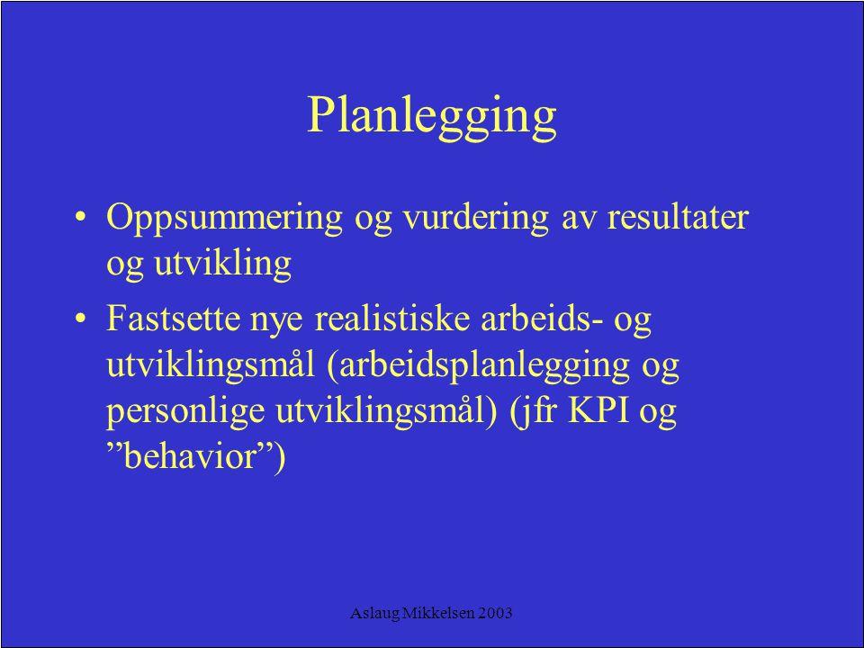 Planlegging Oppsummering og vurdering av resultater og utvikling