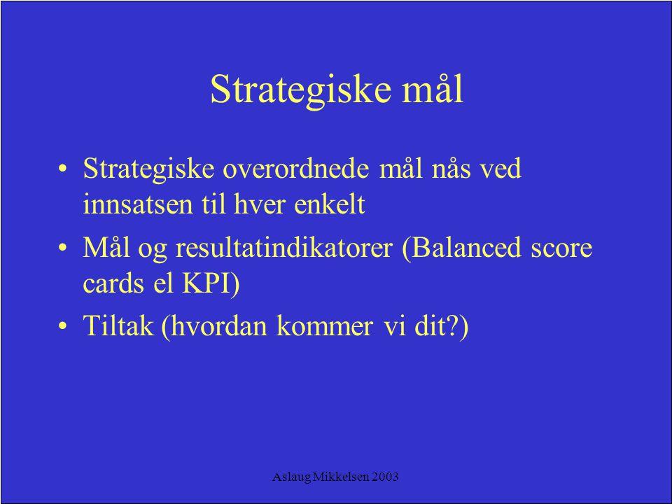 Strategiske mål Strategiske overordnede mål nås ved innsatsen til hver enkelt. Mål og resultatindikatorer (Balanced score cards el KPI)