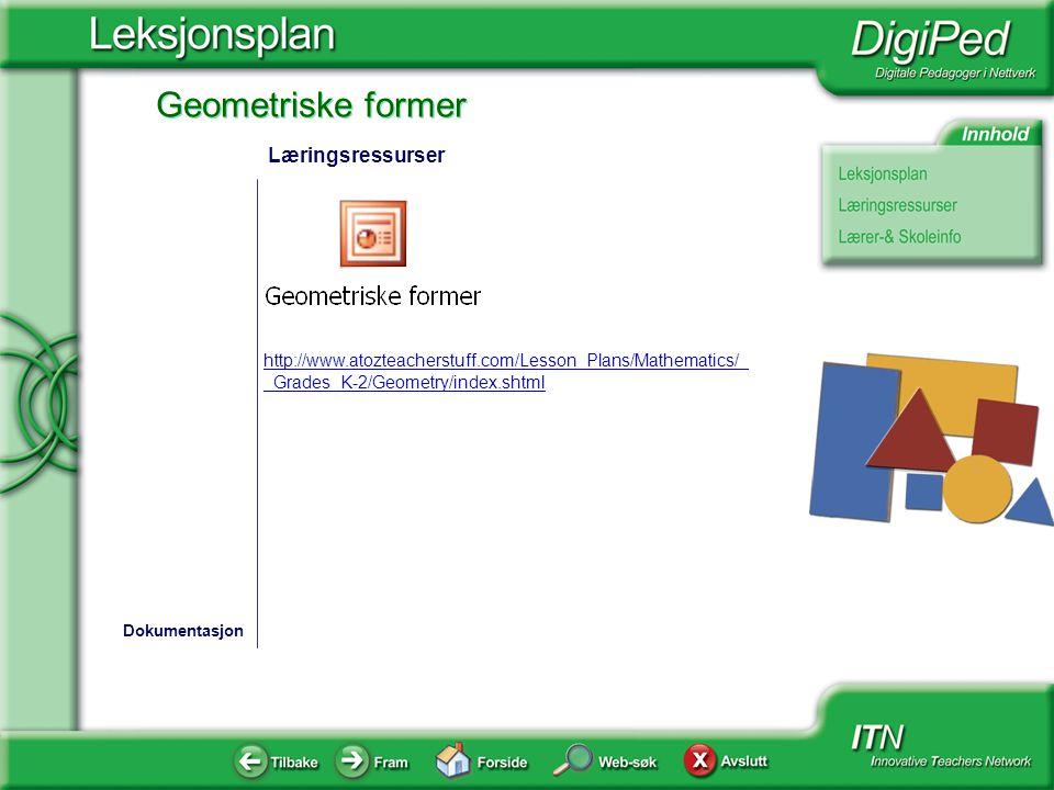 Læringsressurser http://www.atozteacherstuff.com/Lesson_Plans/Mathematics/__Grades_K-2/Geometry/index.shtml.