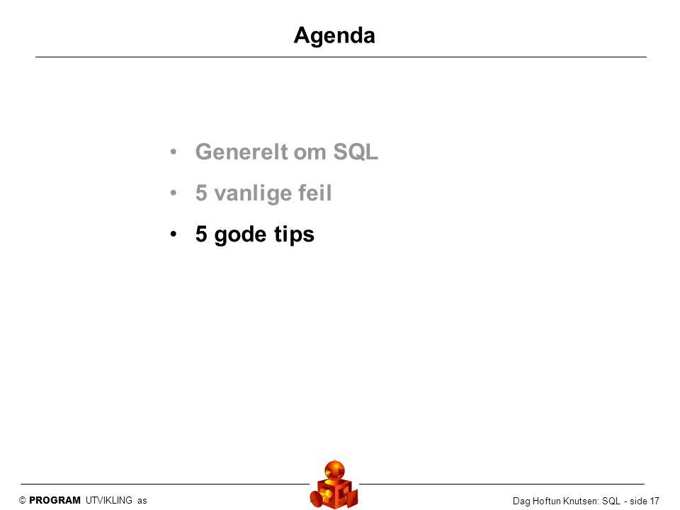 Agenda Generelt om SQL 5 vanlige feil 5 gode tips