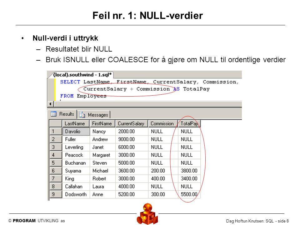 Feil nr. 1: NULL-verdier Null-verdi i uttrykk Resultatet blir NULL