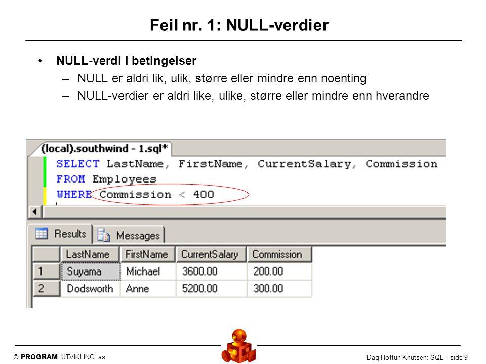 Feil nr. 1: NULL-verdier NULL-verdi i betingelser