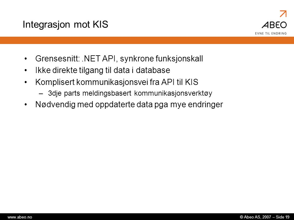 Integrasjon mot KIS Grensesnitt: .NET API, synkrone funksjonskall