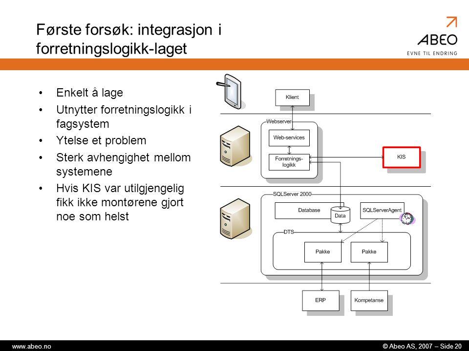 Første forsøk: integrasjon i forretningslogikk-laget