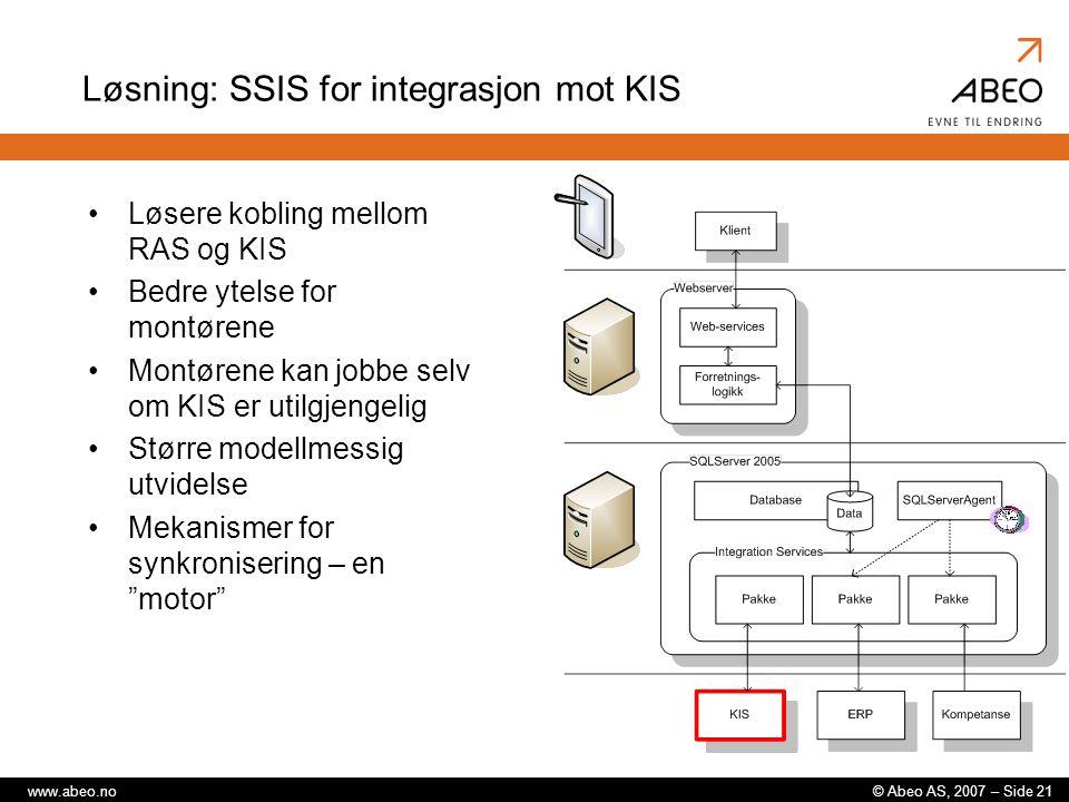 Løsning: SSIS for integrasjon mot KIS
