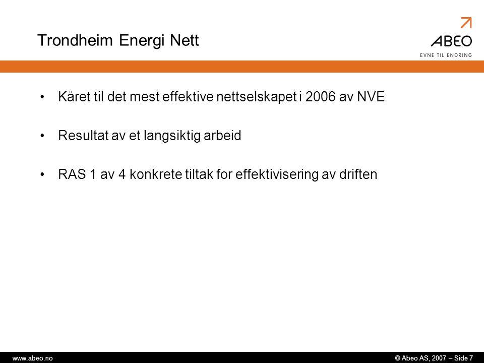 Trondheim Energi Nett Kåret til det mest effektive nettselskapet i 2006 av NVE. Resultat av et langsiktig arbeid.