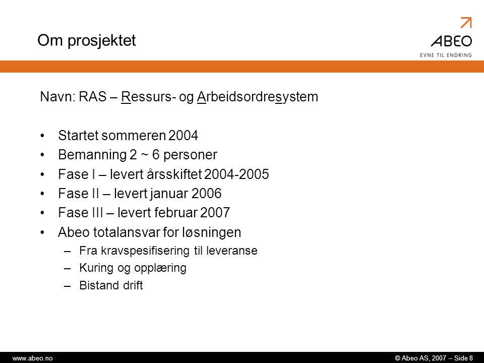 Om prosjektet Navn: RAS – Ressurs- og Arbeidsordresystem